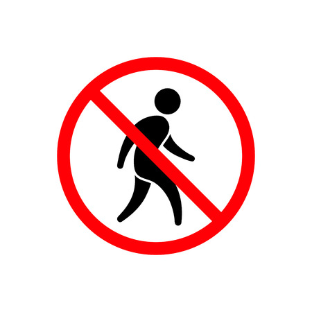 No man walking icon. No entry sign on white background.