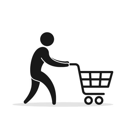 Man with pushcart icon. Supermarket symbol on white background illustration.