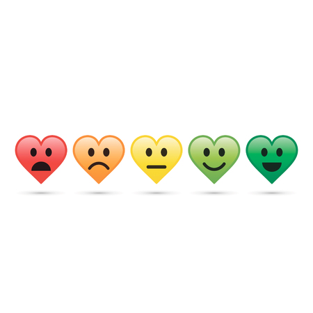 Heart emoticon evaluation icon, feedback icon, heart with different mood. Vector illustration. Illustration