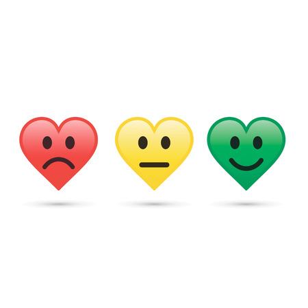 Hearts emoticon evaluation and feedback icon. Vector color element.