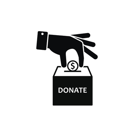 Hand putting coin in donation box. Vector icon illustration. Illustration