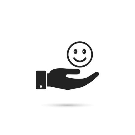 Hand hold smiley emoticon icon, vector. Giving good mood concept illustration.