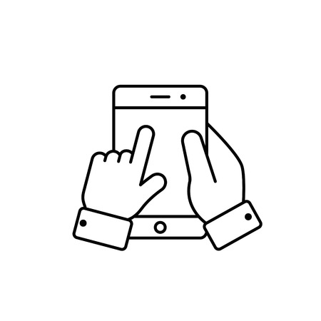 Finger touch mobile phone screen icon, vector isolated outline illustration.