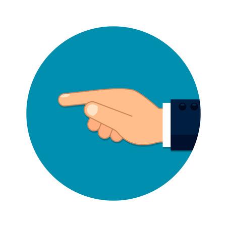 Forefinger direction flat style illustration. Finger gesture indicate, vector illustration in circle Çizim