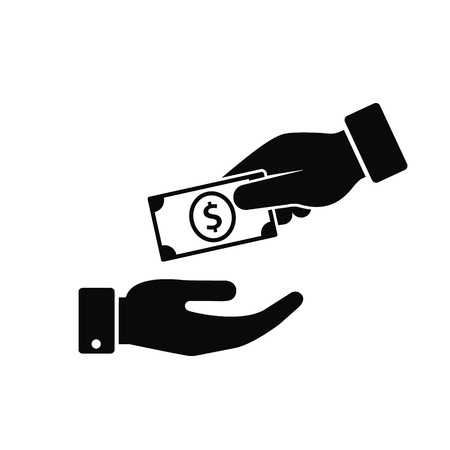 Hand giving money to another hand icon. Vecor illustration Giving and receiving money, donation concept Illustration