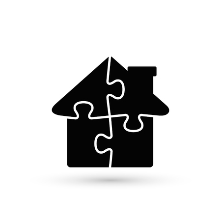 House Puzzle Icon, Jigsaw Home illustration. Vector flat design.