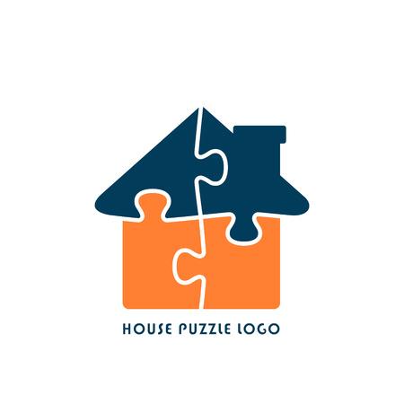 Huis puzzel pictogram, Jigsaw Home illustratie. Vector platte stijlicoon.