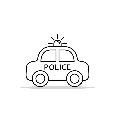 Police Car Line Icon, vector iolated flat design outline illustration. Side view.