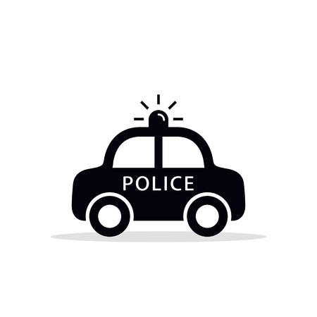 Police Car Icon, vector isolated flat design illustration. Illustration