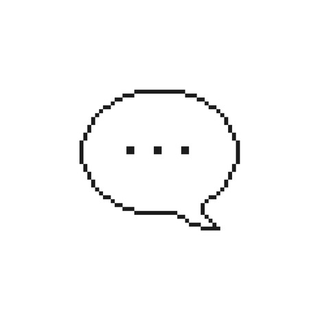 Pixel Speech Bubble Iicon, vector isolated simple outline illustration.