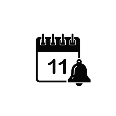 Calendar icon with bell symbol reminder. Vector isolated flat illustration.