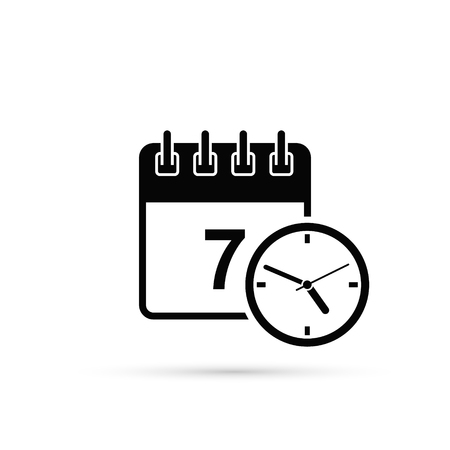 Calendar With Clock Vector Icon, simple. Isolated flat design illustration.