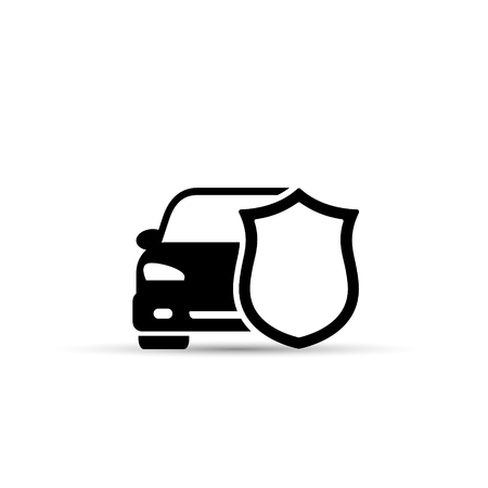 Car Shield Icon Vector. Flat simple symbol. Isolated on white background.