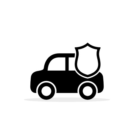 Car Shield Icon Vector. Flat simple symbol. Isolated on white background. Side view. Illustration