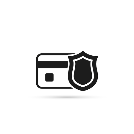 Credit Card with Shield Vector Icon. Bank Card Protection concept.
