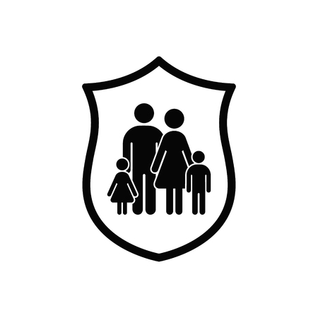 Shield And Family Icon, Vector safety concept flat symbol. Illustration