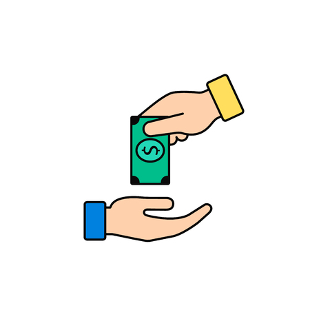 Hand Giving Money To Other Hand Vector Color Icon, simple. Isolated illustration in flat style.