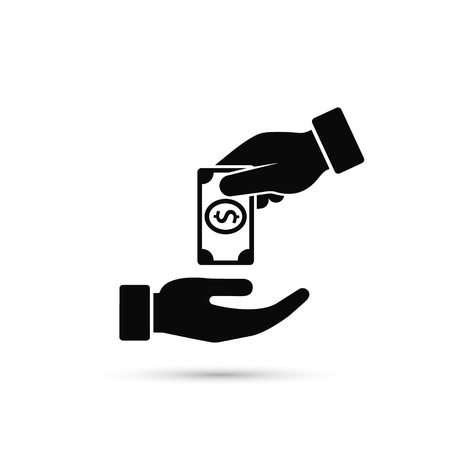 Hand Giving Money To Other Hand Vector Icon, simple. Isolated illustration in flat style.