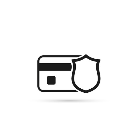 Credit Card with Shield Vector Icon. Bank Card Protection illustration. Illustration