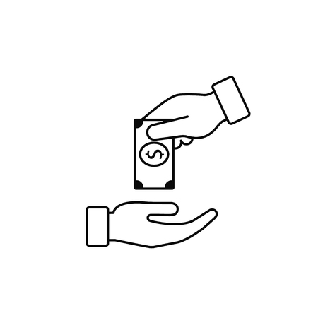 Hand Giving Money To Other Hand Vector Line Icon, outline. Isolated illustration in flat style.