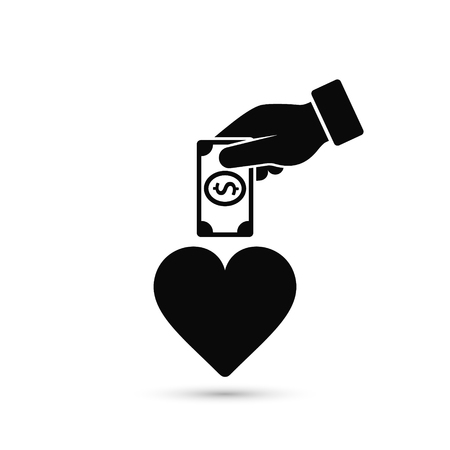 Hand put money in heart illustration. Invest to your health or your love illustration. Vector concept.