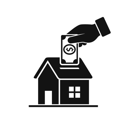 Hand Put Coin In Piggy Bank House. Vector isolated illustration in flat style.