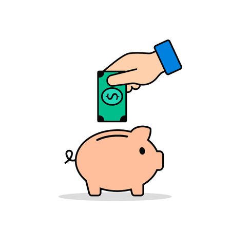 Hand Put Money in Piggy Bank Color Icon. Vector business flat illustration.