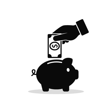 Hand Put Money in Piggy Bank Icon. Vector business illustration.