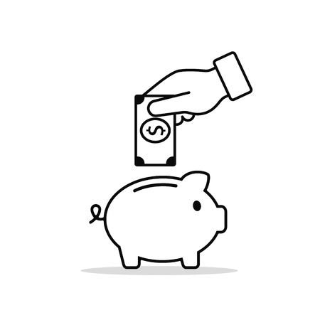 Hand put money in piggy bank line icon. Vector business line flat illustration.