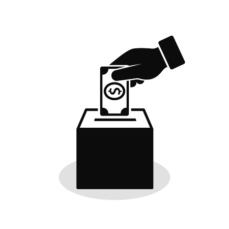 Hand Putting money In Box Vector Icon, Donation concept.