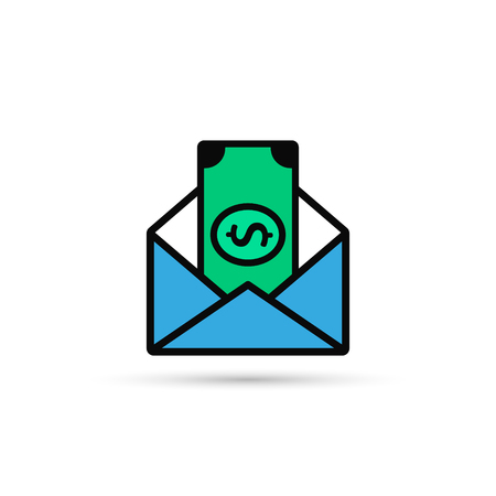 Envelope With Money Vector Color Icon. Flat Style Design.