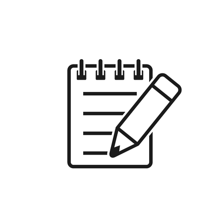 Notebook And Pencil Icon. Notepad With Pencil Line Flat Icon. Vector Isolated Illustration.