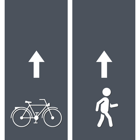 Bicycle and Pedestrian Paths. Walking path and bike path. Vector illustration.
