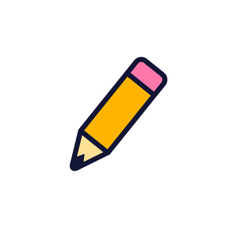 Pencil Color Icon, Vector Flat Style Isolated illustration.