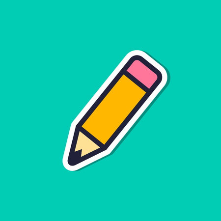 Pencil Icon Sticker, Vector Flat Style. Isolated illustration on green background.