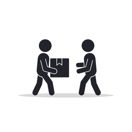 Delivery man giving box to other man icon. Vector isolated flat illustration. Illustration