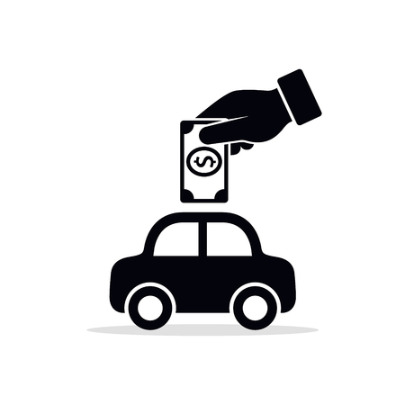 Hand putting money into the car, save money for car, invest money in car concept, Vector flat design. Illustration