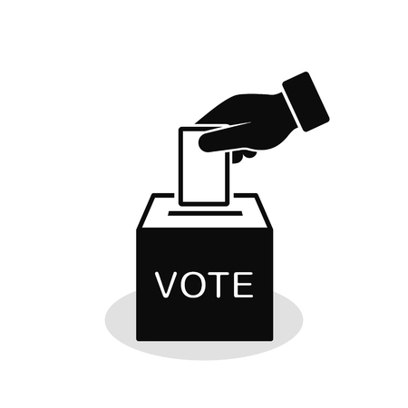 Voting concept icon in flat style. Hand putting voting paper in ballot box. Vector illustration.