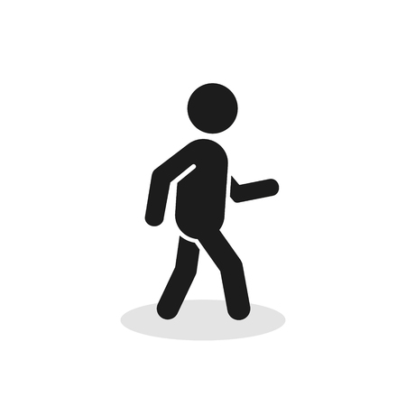 Pedestrian icon. Walking man vector sign silhouette. Isolated on white background. Illustration