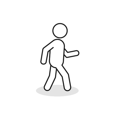 Pedestrian outline icon. Walking man vector line sign silhouette. Isolated on white background. Ilustrace