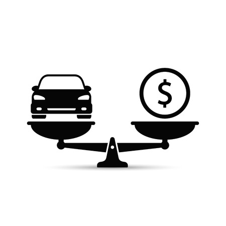 Car and money on scales icon, vector. Buying car concept flat style. Car price concept.