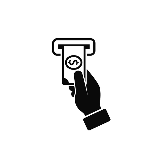 Hand Money ATM Icon. Human Hand Issuing or Receiving Money from ATM.