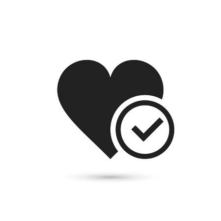 Heart with check icon in flat style. Vector illustration. Illustration
