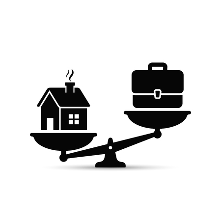 Thuis en zakelijke schalen pictogram. Gewicht tussen werk, geld en uw gezin. Carrière en gezin op de weegschaal. Breng uw bedrijfsconcept in evenwicht.