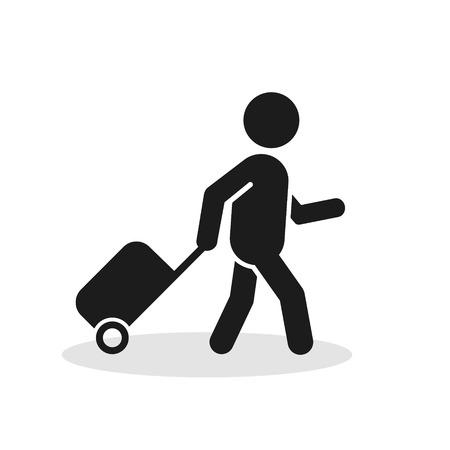 Passenger With Rolling Bag Icon. Vector isolated minimal symbol. Illustration