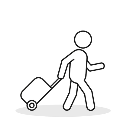 Passenger With Rolling Bag Line Icon. Vector isolated minimal outline symbol.  イラスト・ベクター素材