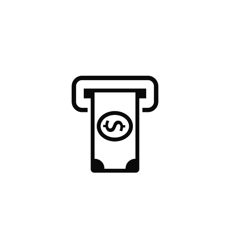 Money ATM Icon. Issuing or Receiving Money from ATM. Vector symbol. Illustration