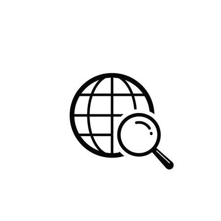 Global Search Icon. Vector isolated simple web symbol.