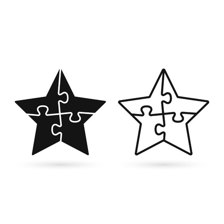 Puzzle Star Icon Set. Vector Isolated Illustration.