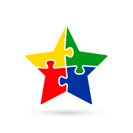 Puzzle Star Color Icon. Vector Isolated Illustration.